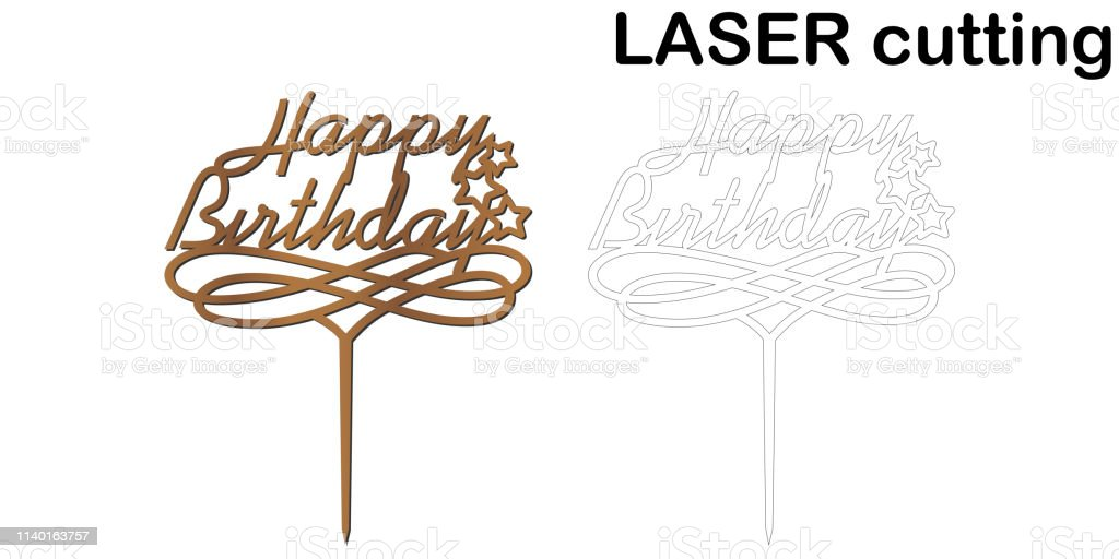 Enjoyable Teken Happy Birthday Cake Topper Voor Laser Of Frezen Cut Personalised Birthday Cards Cominlily Jamesorg