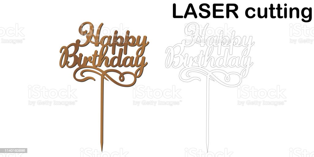 Sign Happy Birthday Cake Topper For Laser Or Milling Cut Royalty Free