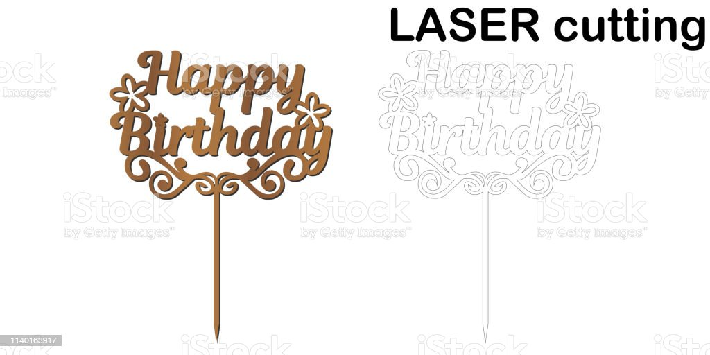 Incredible Teken Happy Birthday Cake Topper Voor Laser Of Frezen Cut Personalised Birthday Cards Cominlily Jamesorg