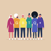 LGBTQ+ sign, Homosexual relationships, A diverse community of modern gay, lesbian, bisexual, transgender, queer people hugging each other
