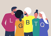LGBTQ+ sign, Homosexual relationships, A diverse community of modern gay, lesbian, bisexual, transgender, queer people hugging  and supporting each other