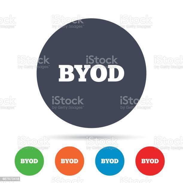 Byod Sign Icon Bring Your Own Device Symbol - Immagini vettoriali stock e altre immagini di Applicazione mobile