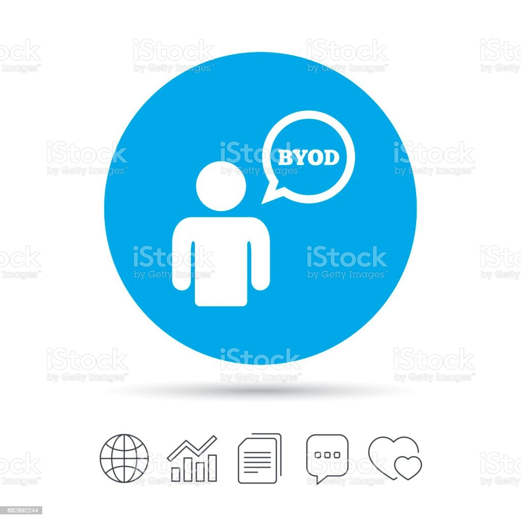 BYOD sign icon. Bring your own device symbol. - arte vettoriale royalty-free di Applicazione mobile