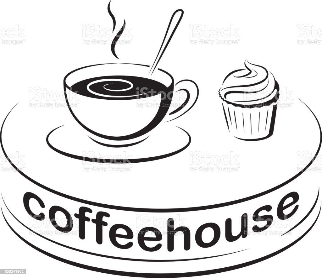 Zeichen Symbol Fur Cafe Eine Tasse Kaffee Und Einen Kleinen Kuchen