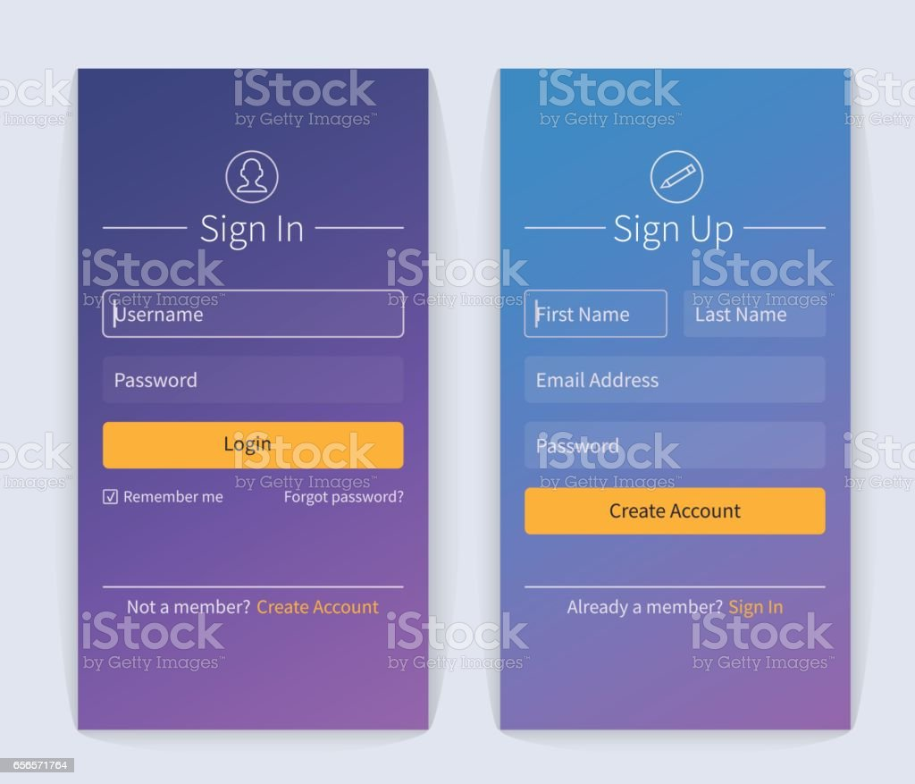 Sign in and sign up vector art illustration