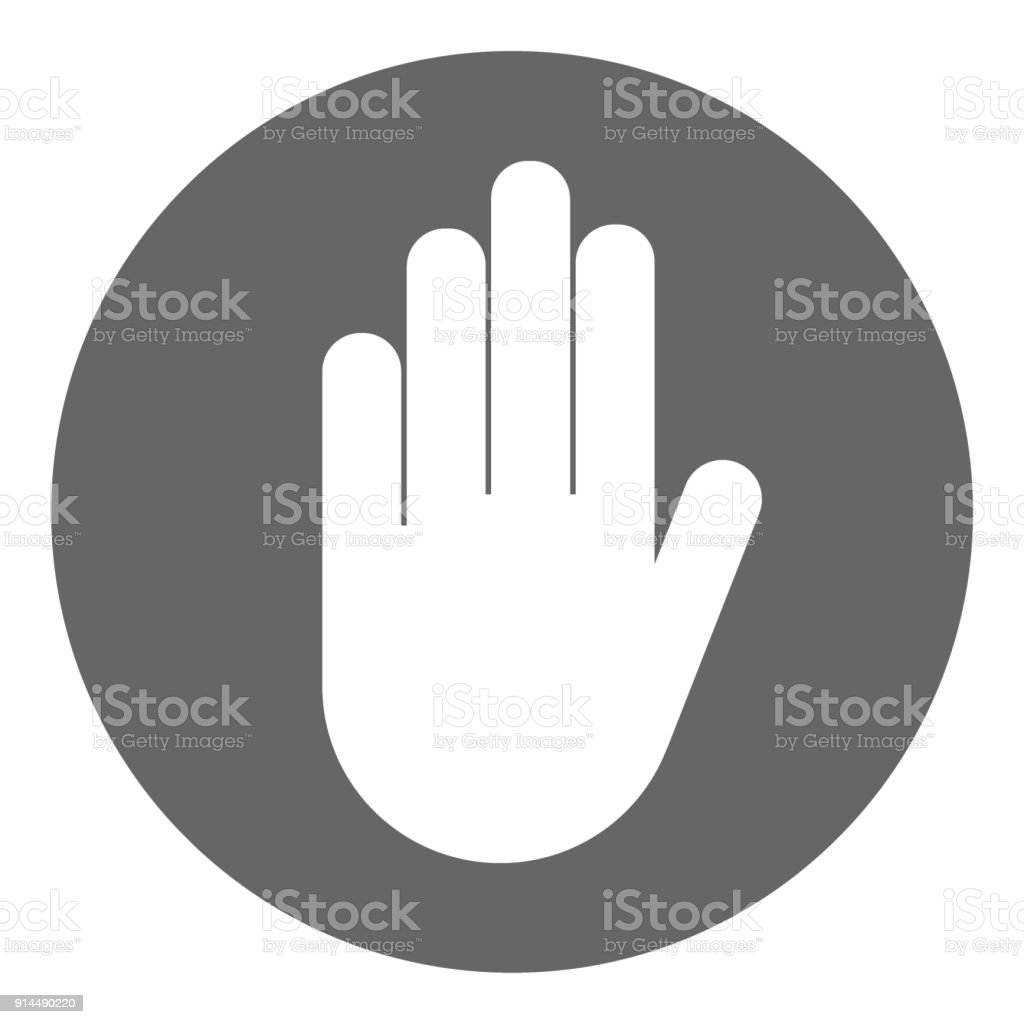 No Entry Sign In Circle Stop Hand Gesture Vector Icon Stock Vector