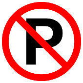 NO PARKING sign in crossed out red circle. Vector.