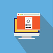 Sign in page on computer screen with login form and sign in button. User account. Modern concept. Creative flat design vector illustration2.jpg