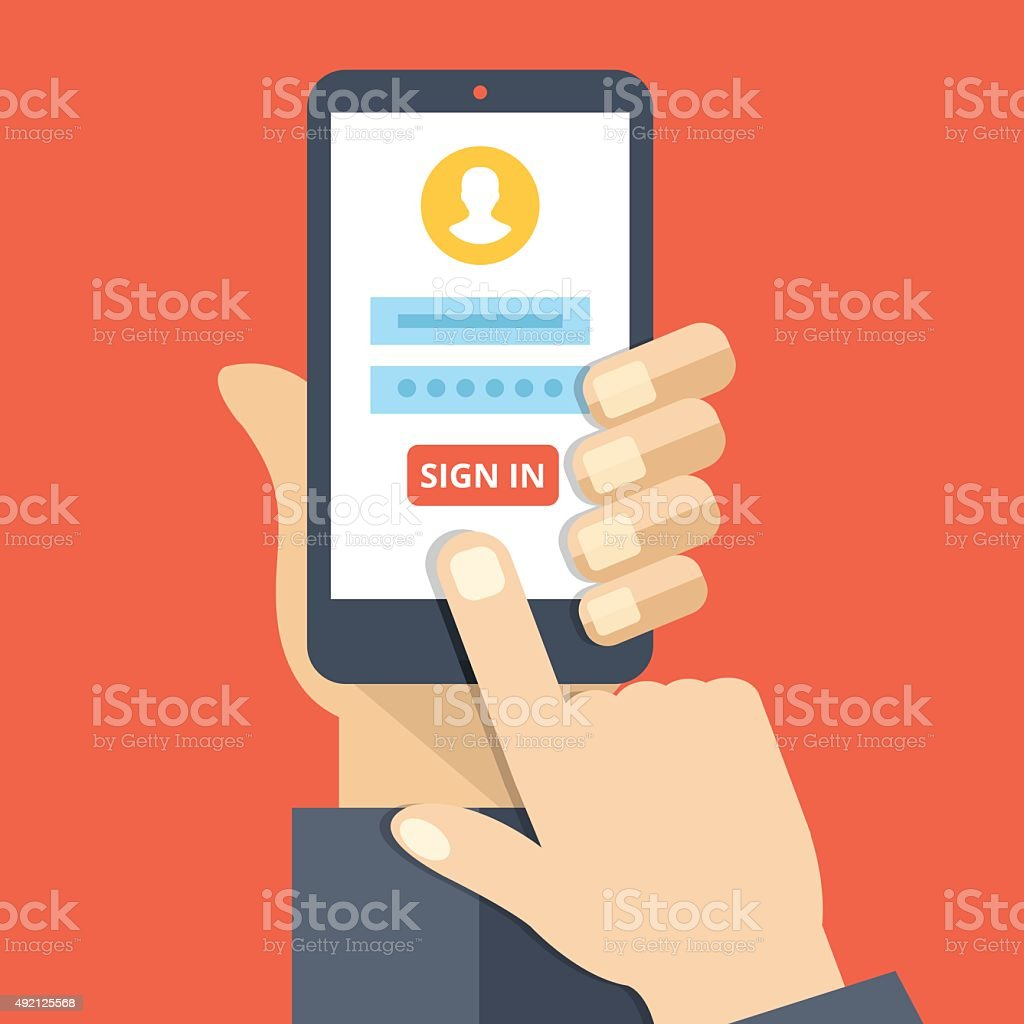 Sign in page on smartphone screen. Mobile account vector art illustration