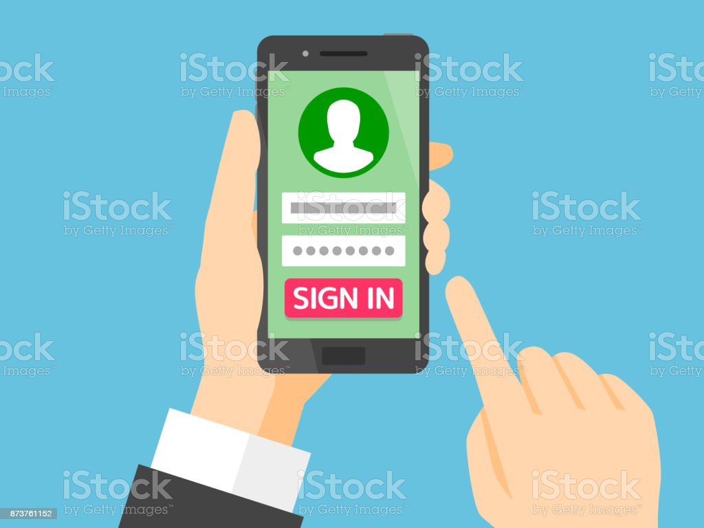 Sign in page on smartphone screen vector art illustration