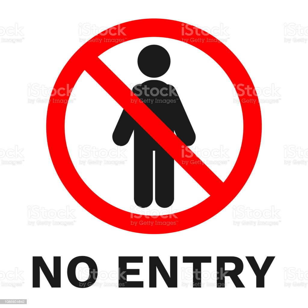 1e319b55b49446 NO ENTRY sign. Label with inscription. Vector royalty-free no entry sign  label