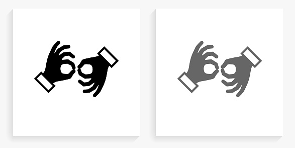 Sign Language Black and White Square Icon