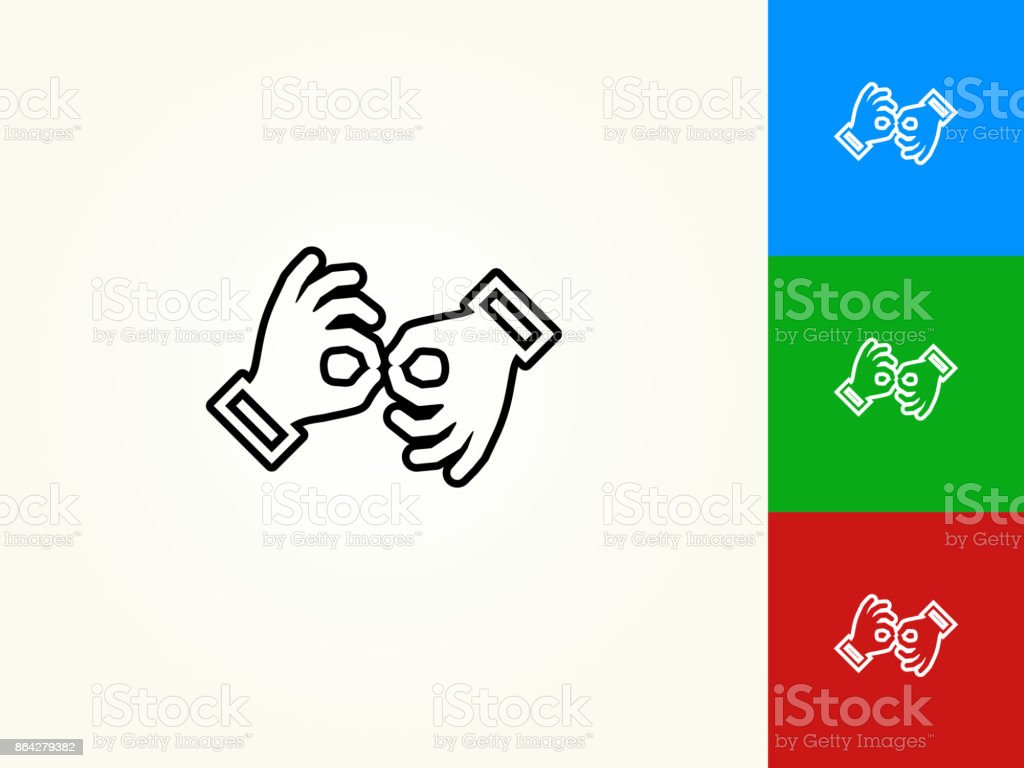 Sign Language Black Stroke Linear Icon royalty-free sign language black stroke linear icon stock vector art & more images of black color