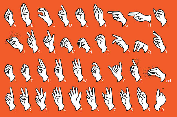 Sign Language - Communication vector art illustration