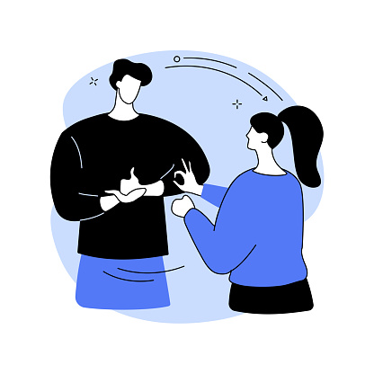 Sign language conversation abstract concept vector illustration.