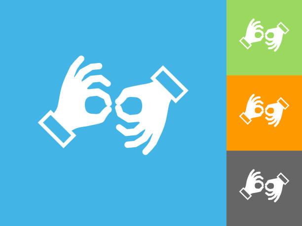 stockillustraties, clipart, cartoons en iconen met de platte pictogram gebarentaal op blauwe achtergrond - gebaren