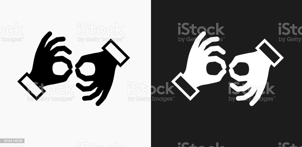 Sign Language Icon on Black and White Vector Backgrounds vector art illustration