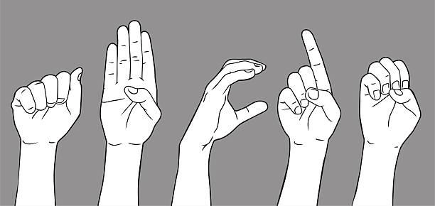 stockillustraties, clipart, cartoons en iconen met sign language letter a b c d e - gebaren