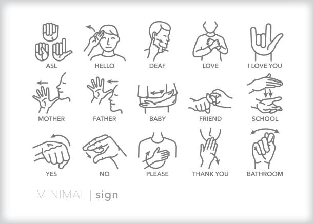 Sign language line icons for common words and phrases Set of 15 American sign language line icons of common words and phrases including yes, no, bathroom, mother, father, baby, friend, please, thank you, and I love you signing stock illustrations