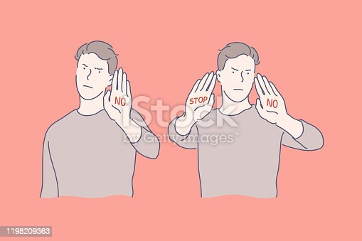 Sign language, stop and no gestures, negative emotions concept. Call to stop, prohibition, rejection, communication, dialogue, gesticulating young man, denying guy. Simple flat vector