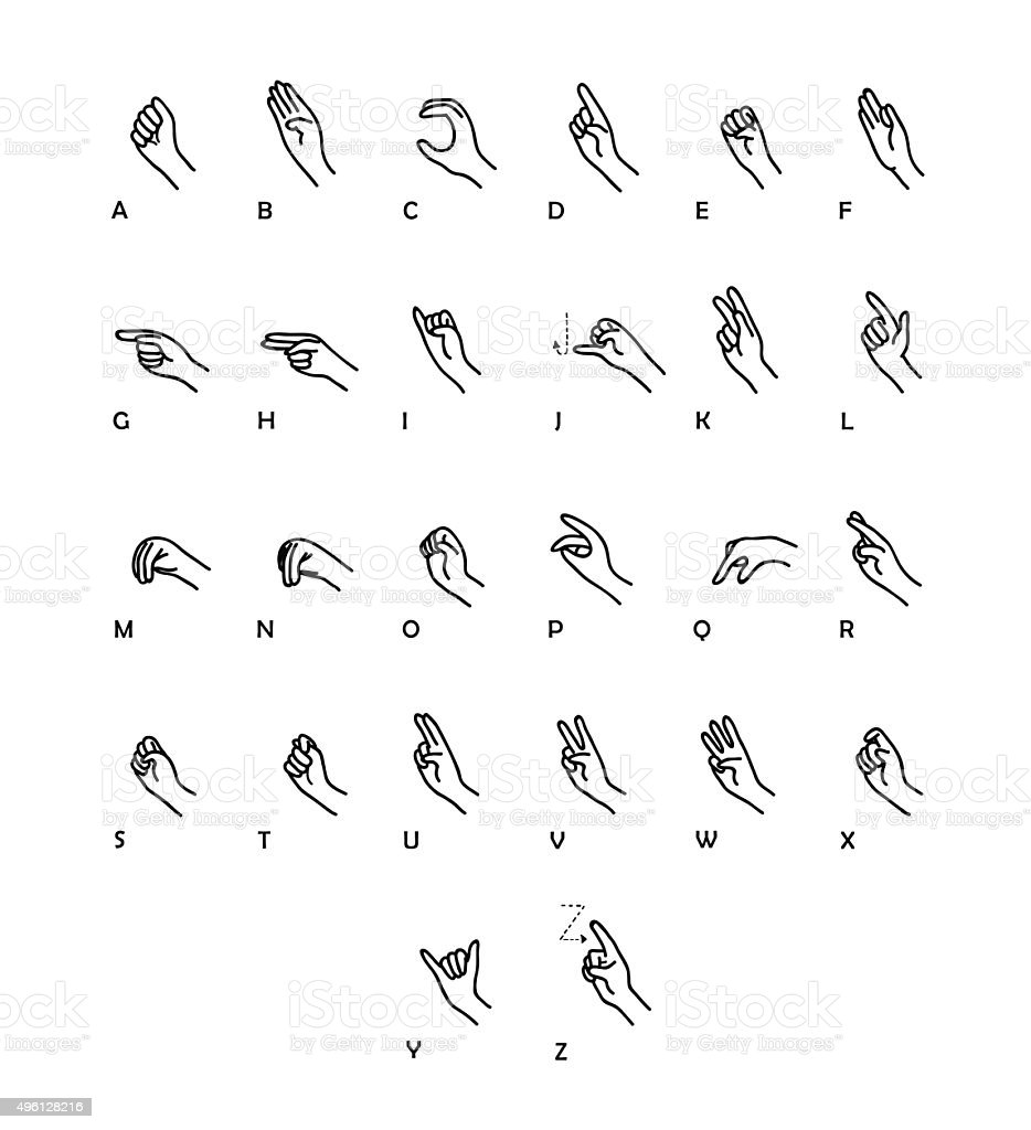 Sign Language Vector Set vector art illustration