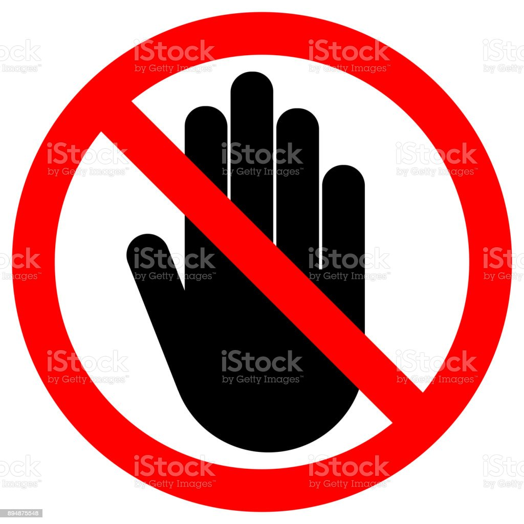 NO ENTRY sign. LEFT hand palm. STOP icon in crossed out red circle. Vector vector art illustration