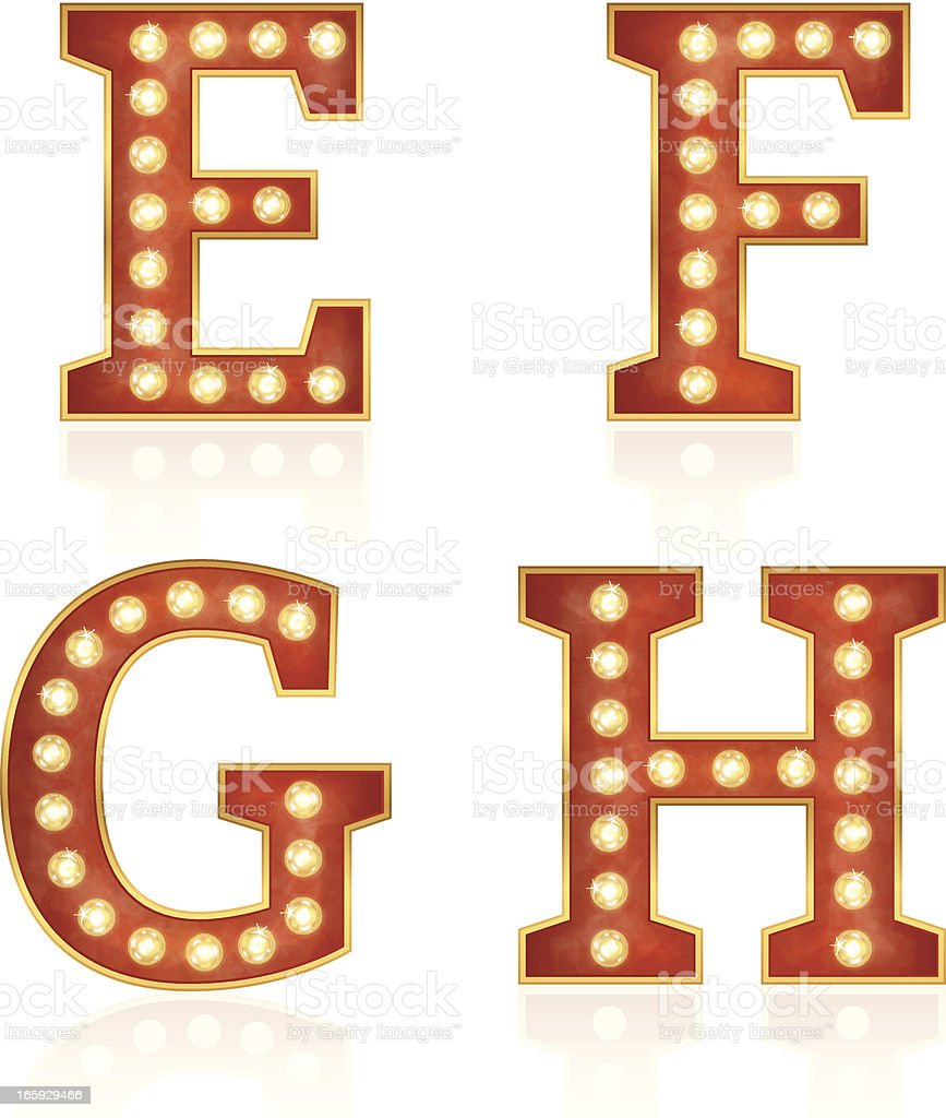 Sign letters with lamps - E, F, G, H royalty-free stock vector art