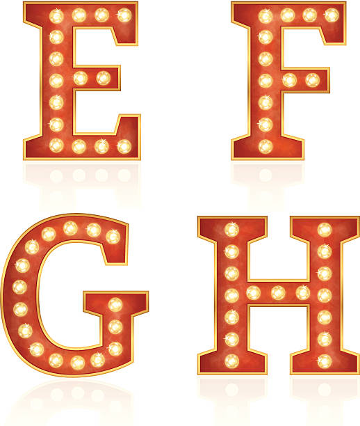 Sign letters with lamps - E, F, G, H vector art illustration
