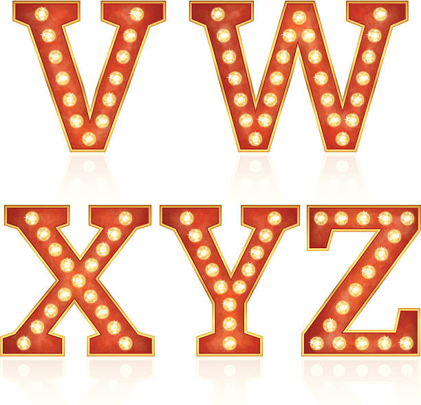 Sign letters with lamps - V, W, X, Y, Z vector art illustration