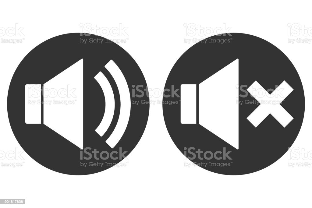 SOUND ON OFF sign. Loudspeaker icon in circle. Vector vector art illustration