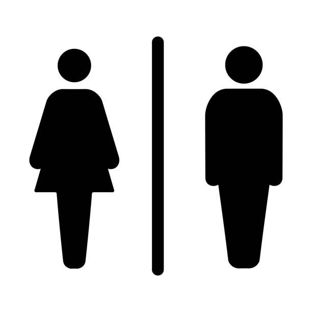 illustrazioni stock, clip art, cartoni animati e icone di tendenza di sign male and female toilet - bagno