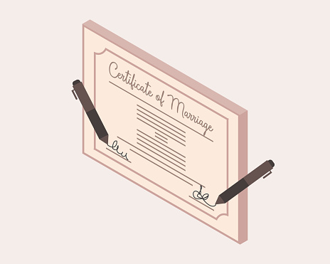 sign marriage certificate to get official marriage vector