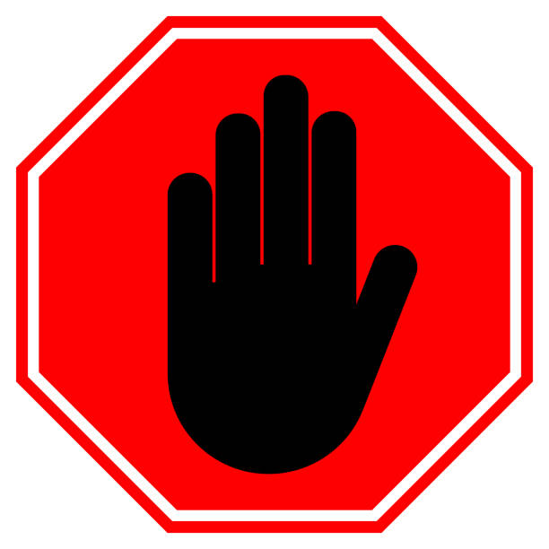 stop hand sign. no entry gesture in red octagon. vector icon - stop sign stock illustrations
