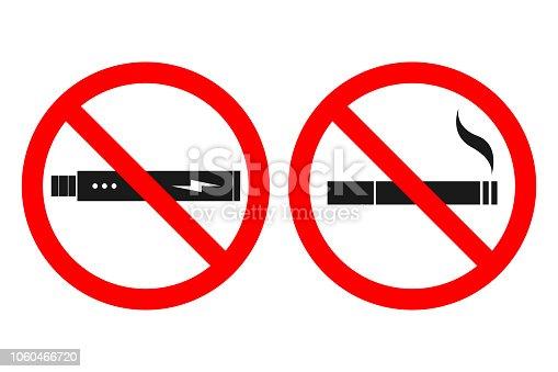 NO SMOKING sign. NO VAPING sign. Vector.