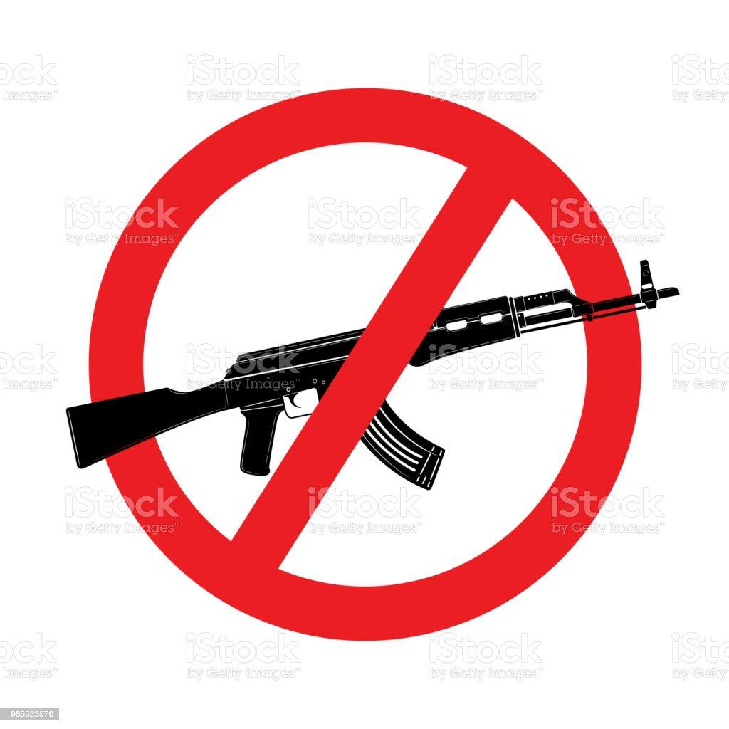 武器に署名しません。白い背景に分離されたベクトル カラシニコフ突撃ライフル アイコン ベクターアートイラスト