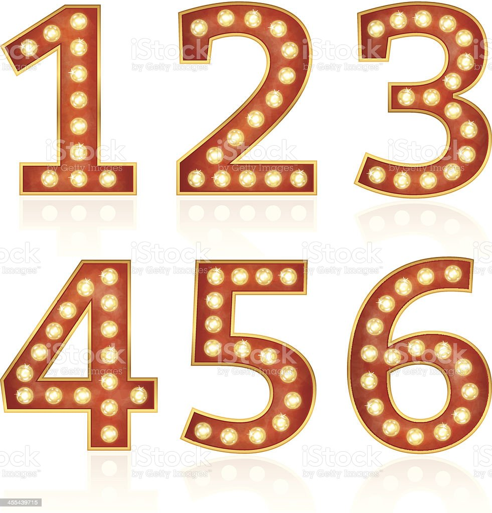 Sign numbers with lamps royalty-free stock vector art