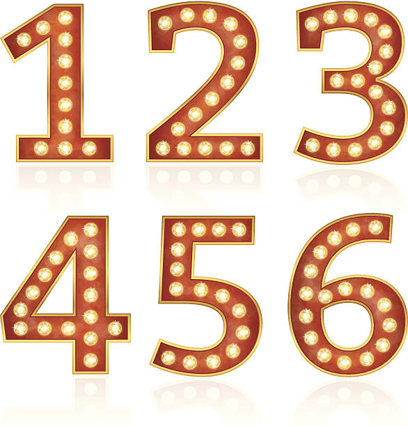 Sign numbers with lamps vector art illustration
