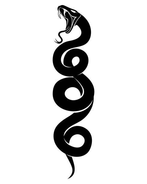 Sign of a black snake. Sign of a black snake on a white background. snakes tattoos stock illustrations