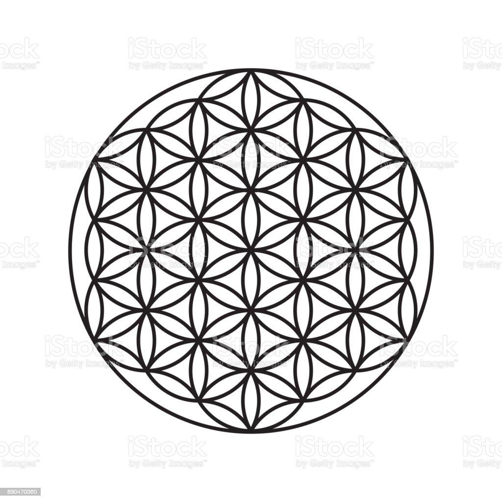 Sign of a flower of life, a pattern of circles – artystyczna grafika wektorowa