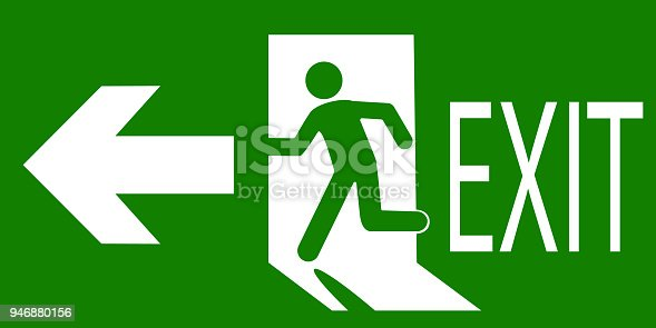 Green sign of an emergency or fire exit indicating the direction of movement. Vector illustration.