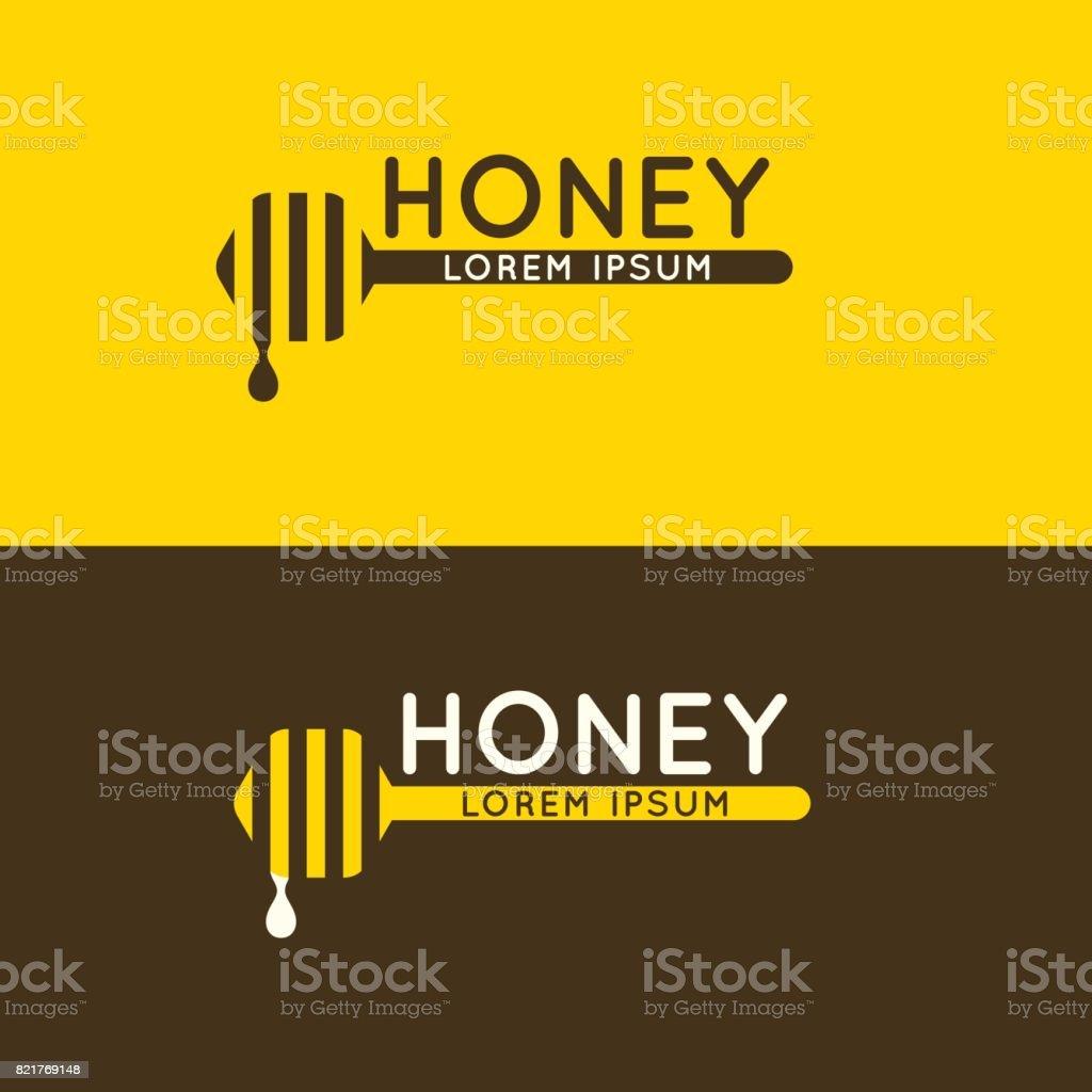 Signe du miel d'abeille. Emblème moderne et élégant pour l'apiculture - Illustration vectorielle
