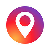 Sign of location social media application place pointer on colored circle. EPS 10
