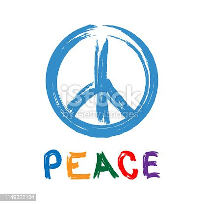 Sign of Pacific with text Peace drawn by hand. Watercolor brush, paint, graffiti. Colorful vector illustration.