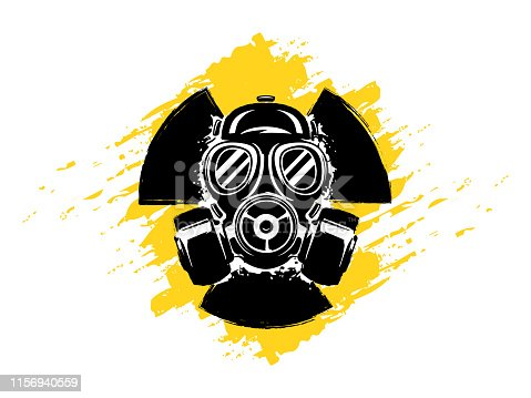 Sign of radioactivity with gas mask grunge vector illustration. Concept of pollution and danger. Radioactive sign. Radioactive hazard. Radioactive toxic symbol.