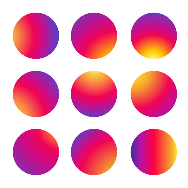 znak okrągłego koła ramki zestaw, ikona aplikacji mediów społecznościowych, follower, miłość, jak, czerwony i fioletowy kolor gradientu, okrąg, auto post production filter, wektor - instagram stock illustrations