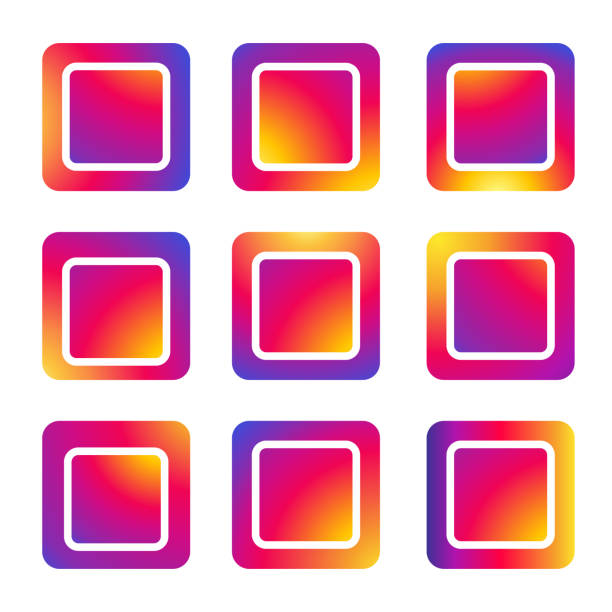 Sign of square frames set social media application, red and purple gradient color icon background, Auto Post Production Filter, vector Social Media Interface, square frames set for symbol, button, icon comment, search, like, follower user story sign, colorful purple and red gradient color background. Vector illustration. EPS 10 instagram stock illustrations