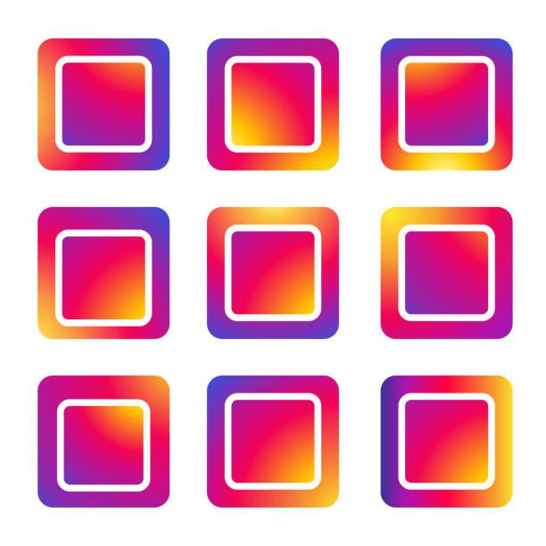 znak kwadratowych ramek ustawić aplikacji mediów społecznościowych, czerwony i fioletowy gradient kolor kolor tło, auto post production filter, wektor - instagram stock illustrations