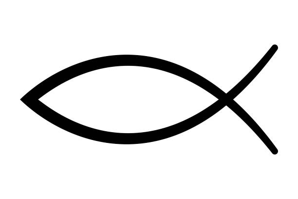 Sign of the fish, symbol of Christian art vector art illustration