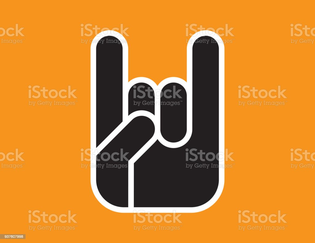 Sign of the Horns Hand Gesture. vector art illustration