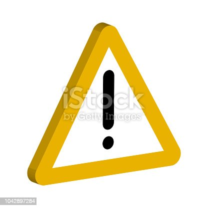 3D sign of the notifications, a yellow triangle and an exclamation point vector symbol important notices